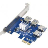Адаптер расширения для райзеров PCI-E x1-x16 to 4 PCI-E USB 3.0