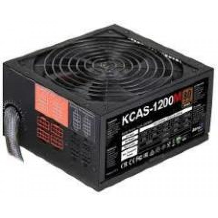 Блок питания Power Supply Aerocool KCAS-1200M, 1200W, ATX, APFC, 20+4 pin, 4+4pin, 10*Sata, 4*Molex, 1*FDD, Поддержка Haswel